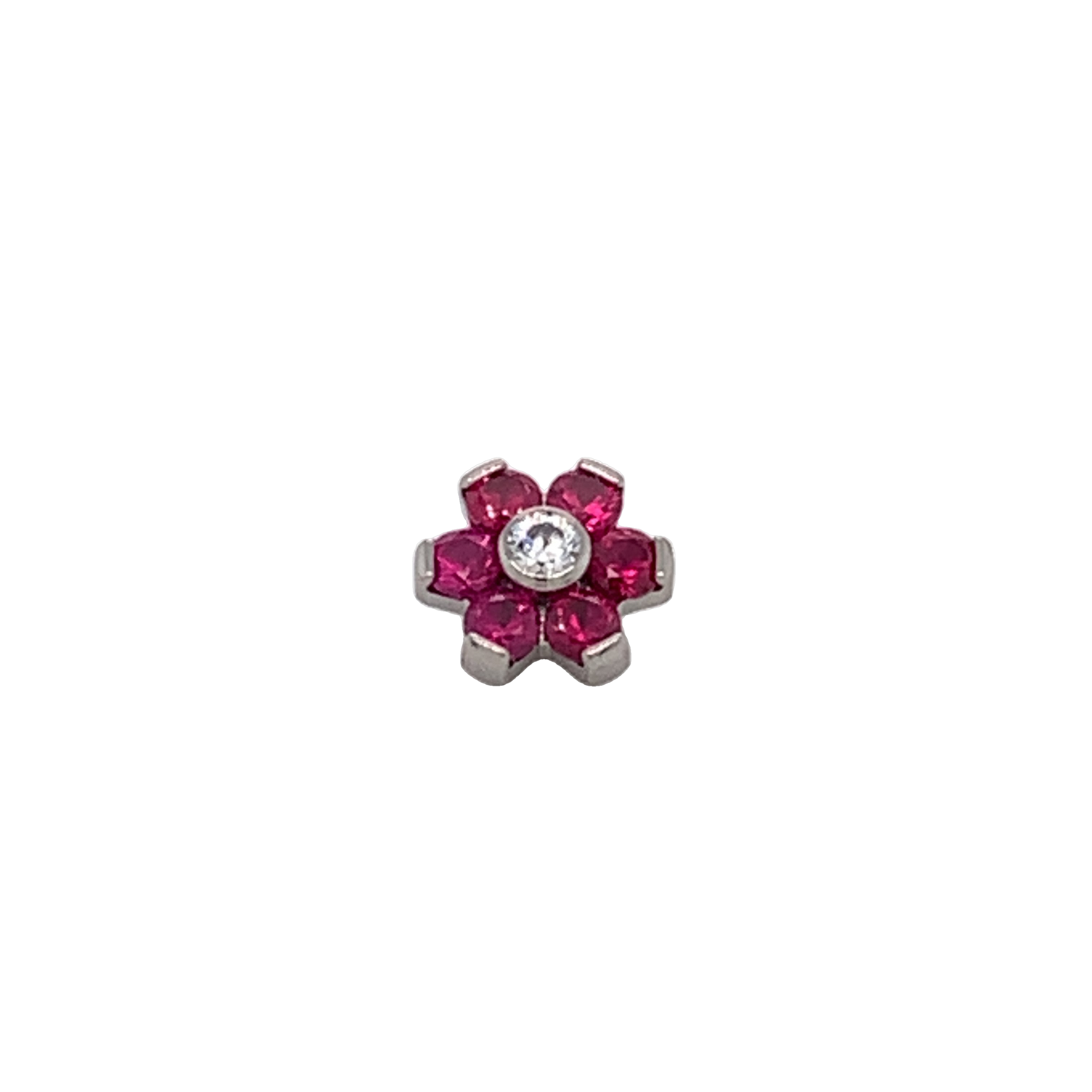 Titanium Ruby & White Cz Flower End With 6 Petals Attachment