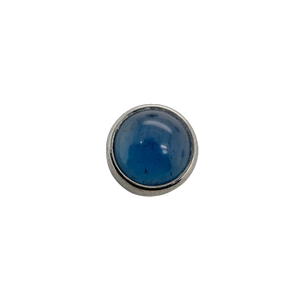 Titanium Flat Back Blue Agate Cabochon End Attachment