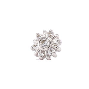 14Ct White Gold 7 Gem Radiant Cz Cluster End Attachment