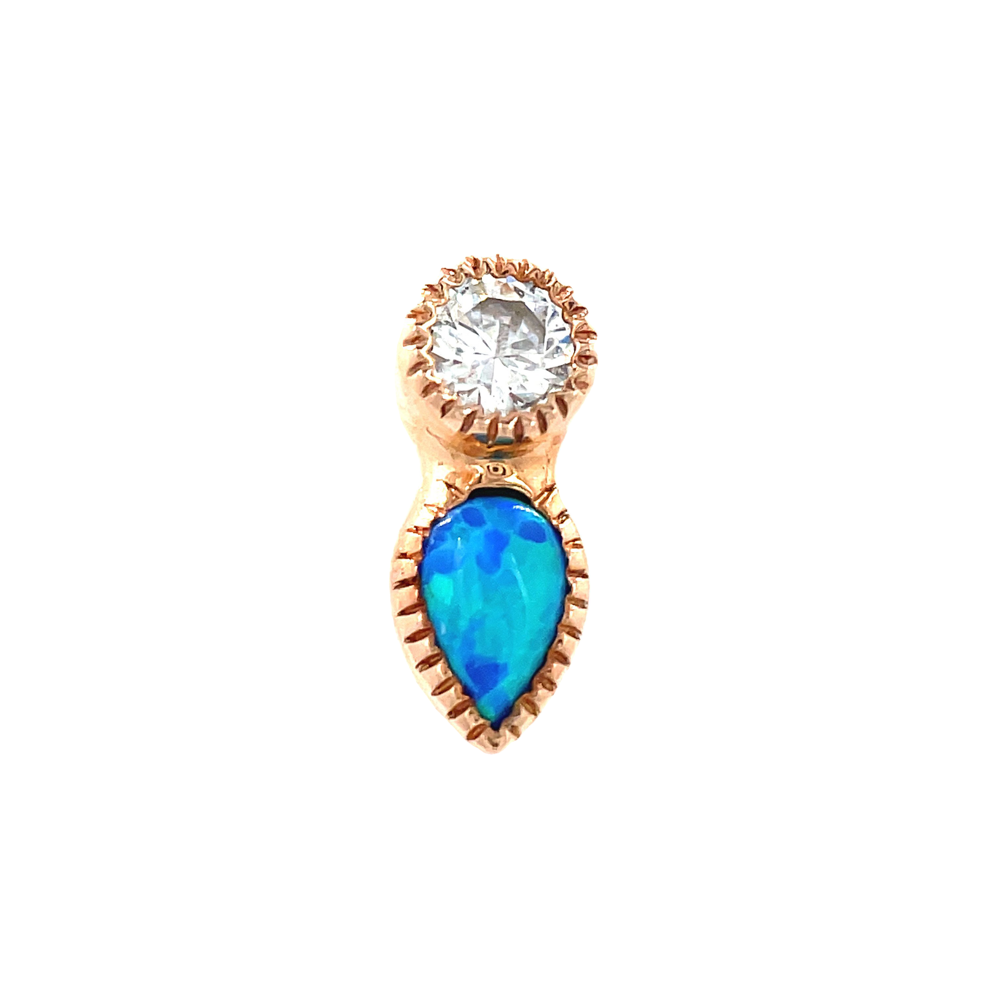 Auris 14ct Gold Medal Teardrop Grisant CZ & Opal End