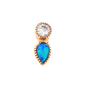 Auris 14ct Gold Medal Teardrop Grisant CZ & Opal End - Isha Body Jewellery