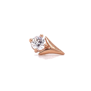 14Ct Rose Gold Tulip With Swarovski Cz Stone Attachment