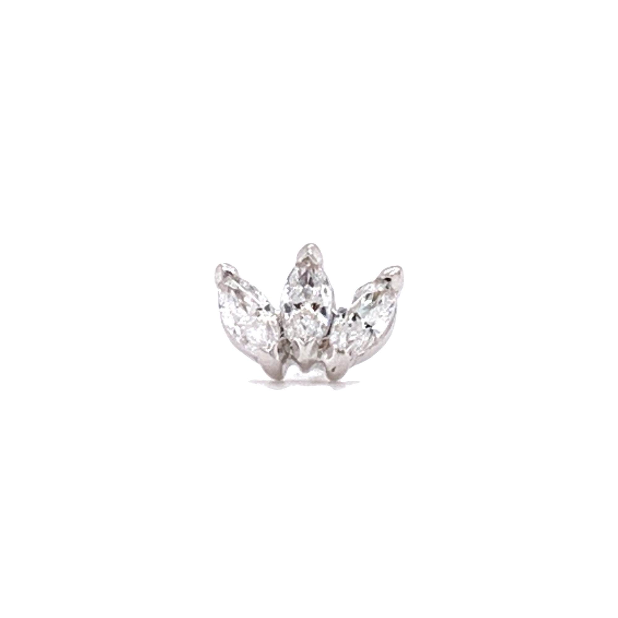 14Ct White Gold Triple Marquise Swarovski End Attachment