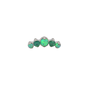 Odyssey Mini Prium Lime Green Opal End Threadless - Isha Body Jewellery