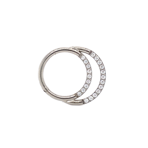 Cassini Double Pave Set Cz Segment Ring Hinged Ring