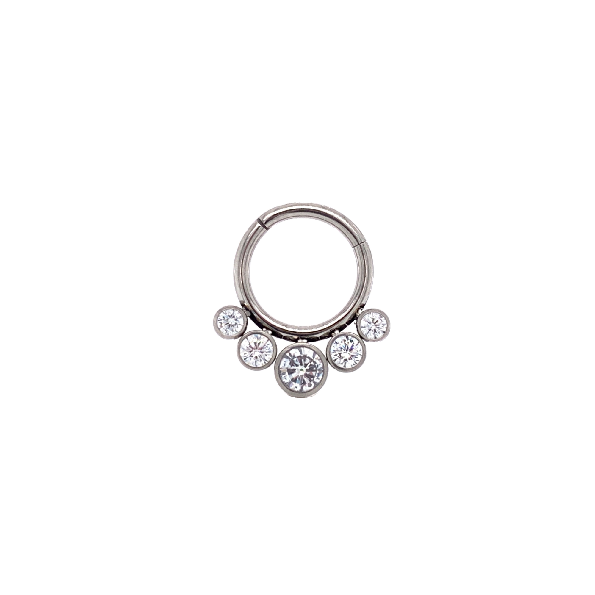 Clear Crystal CZ 5 Stone Gem Hinged Ring - Isha Body Jewellery