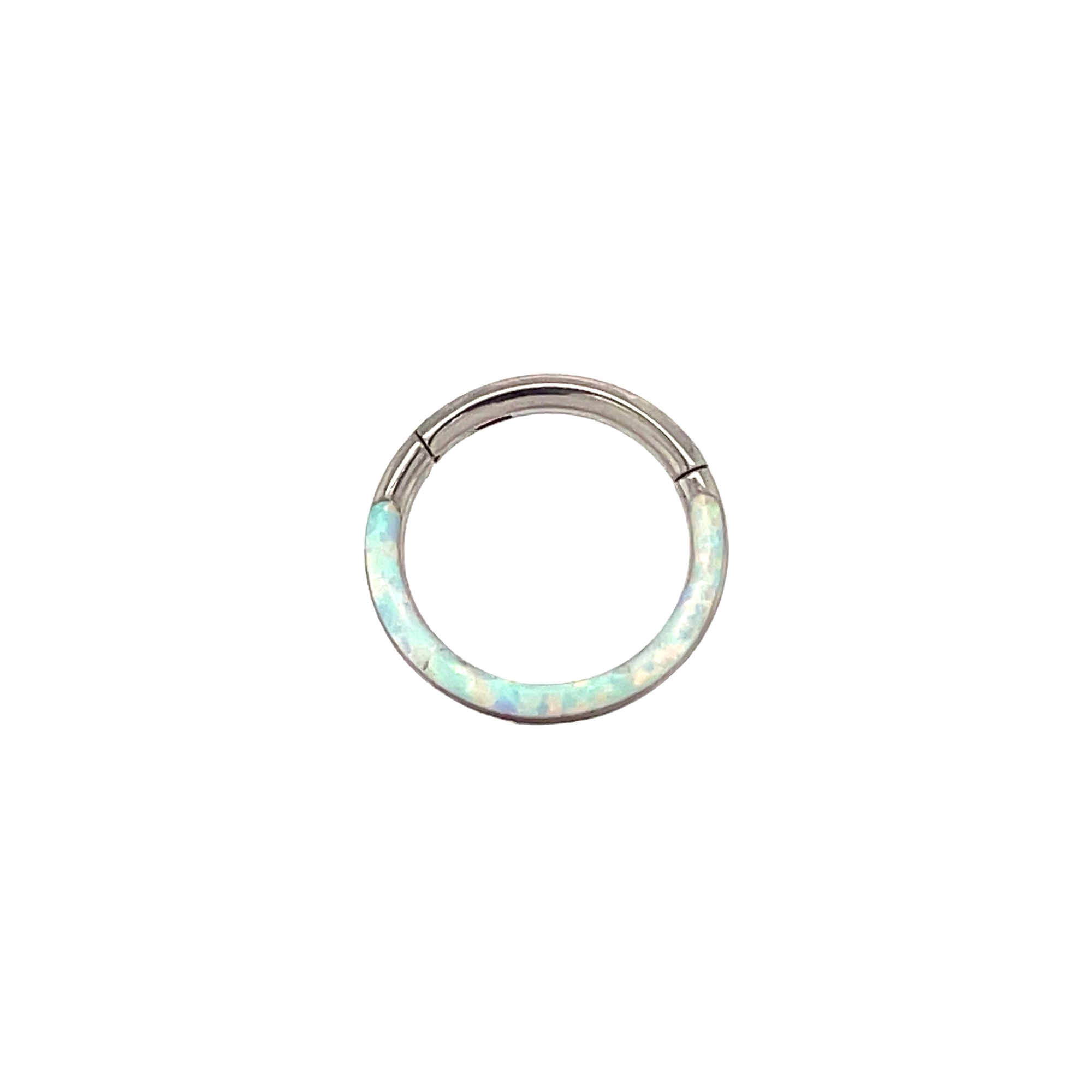 QualiTi Eos White Cabochon Opal Hinged Ring