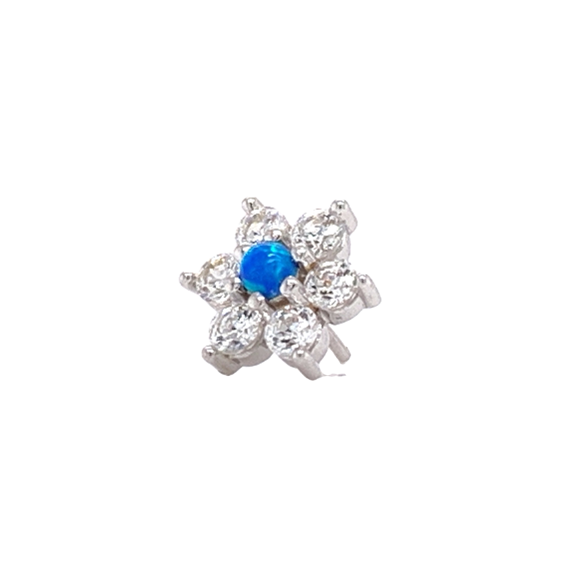 14Ct White Gold Flower With Swarovski & Blue Opal Attachment