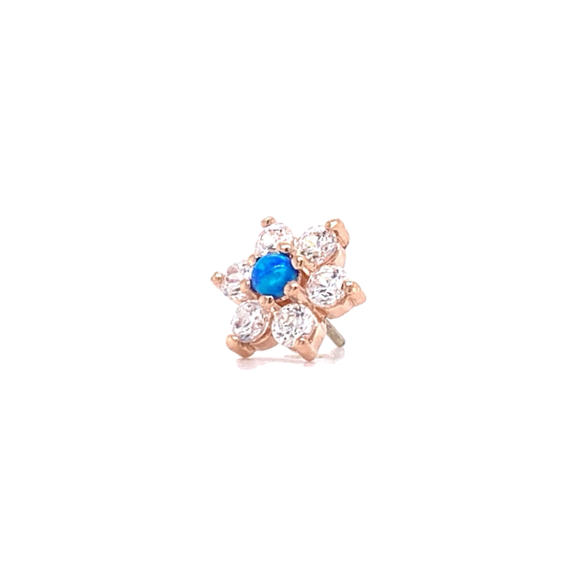 14Ct Rose Gold Flower With Swarovski & Blue Opal Attachment