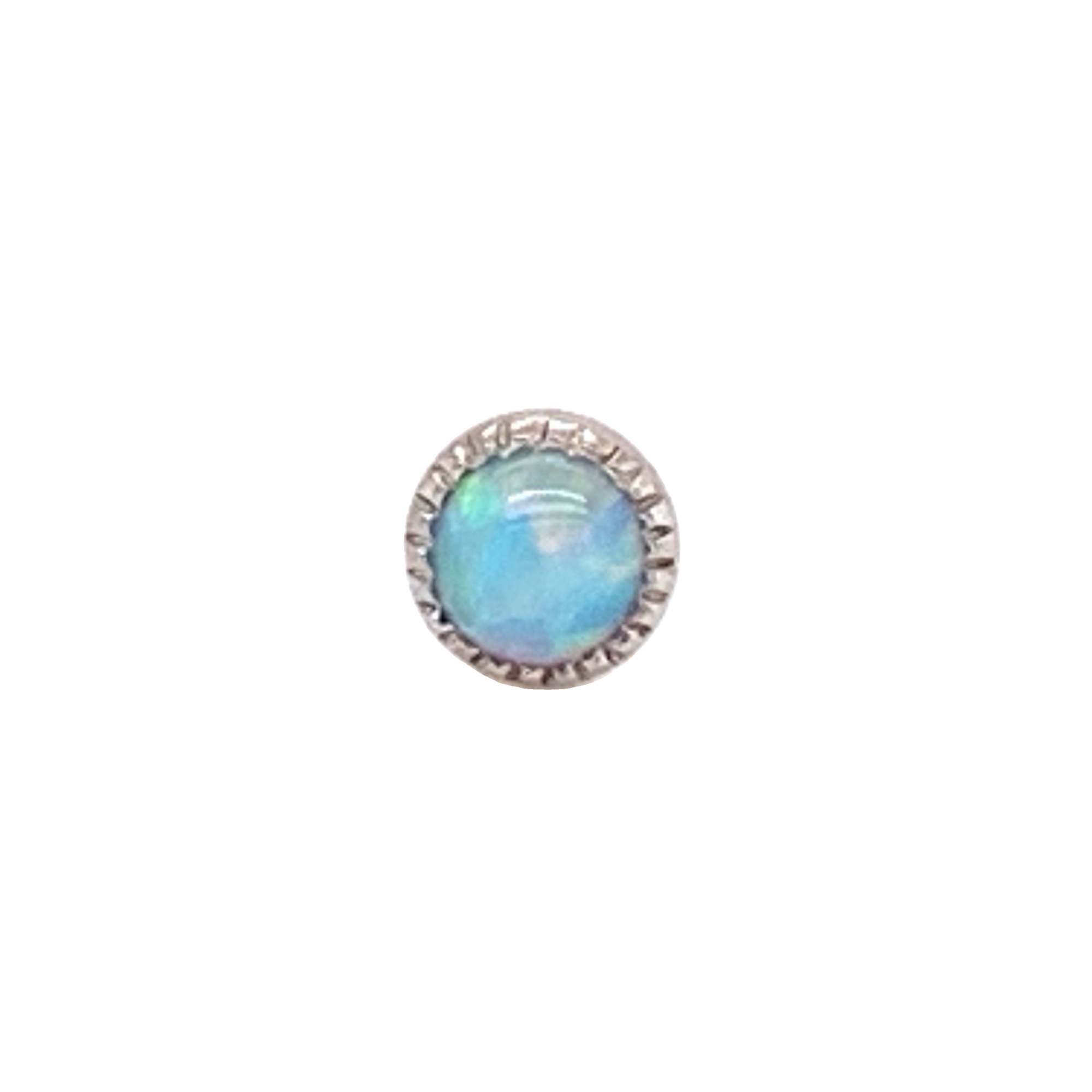 Auris 14ct White Gold Blue Opal Grisant Cabochon End - Isha Body Jewellery