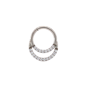 Cassini Double Pave Set Cz Segment Ring 8Mm Hinged Ring