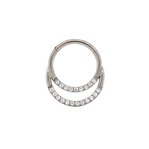titanium cassini double band hinged clicker ring