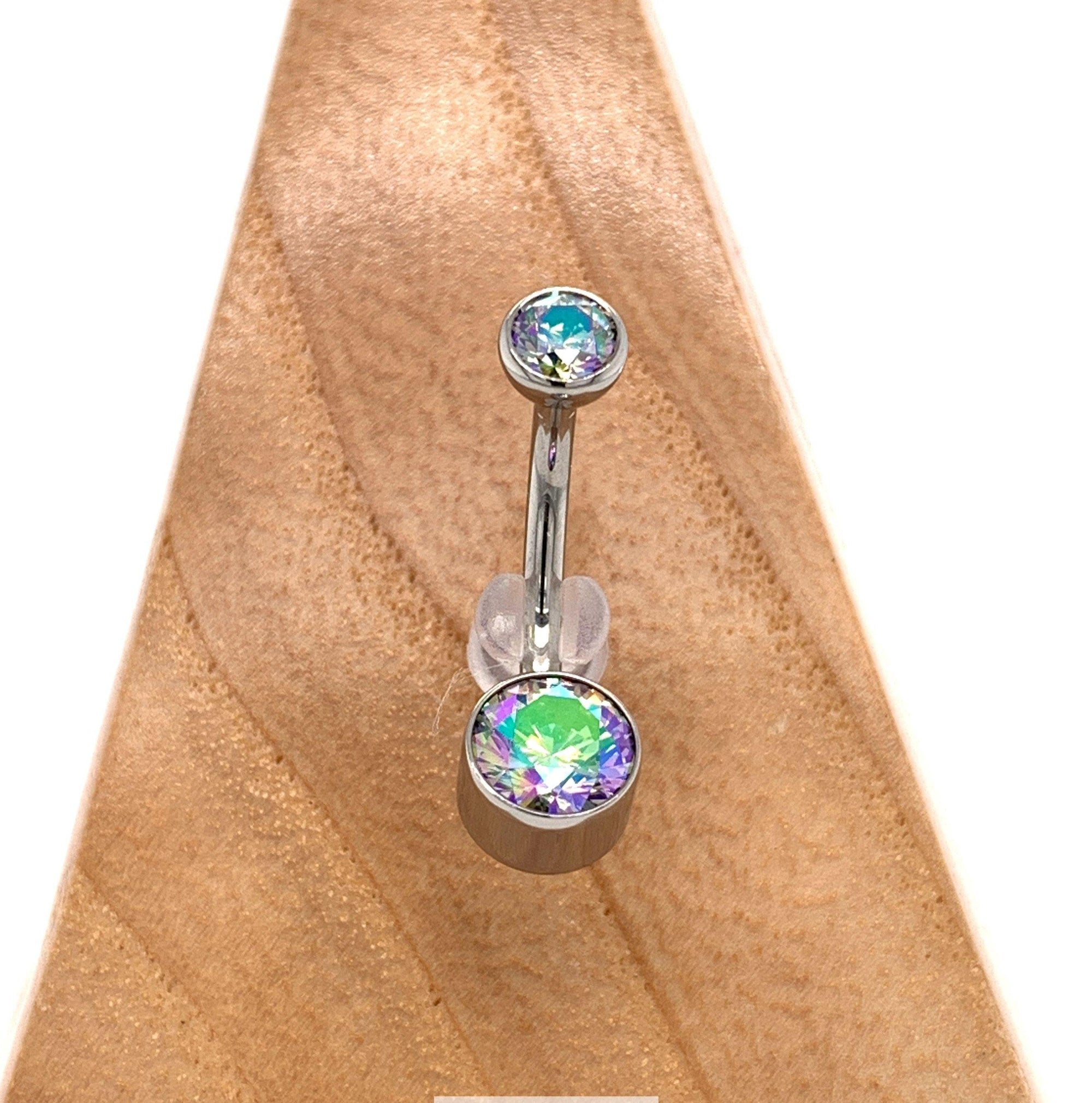 Titanium Bezel Set Shimmer Cz Curved Barbell Navel Bars