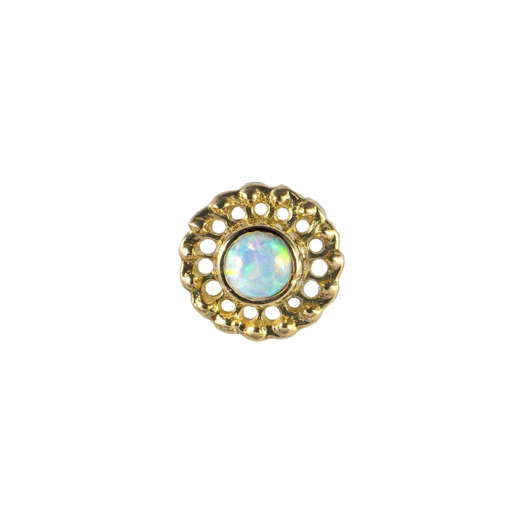 18ct Yellow Gold White Opal Virtue End - Isha Body Jewellery