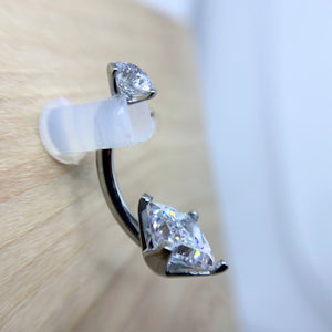 Titanium Prong Set Princess Cut Curved Barbell - Isha Body Jewellery