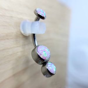 Titanium Gemini Bezel Set Faux-pal Cabochon Gem Curved Barbell - Isha Body Jewellery