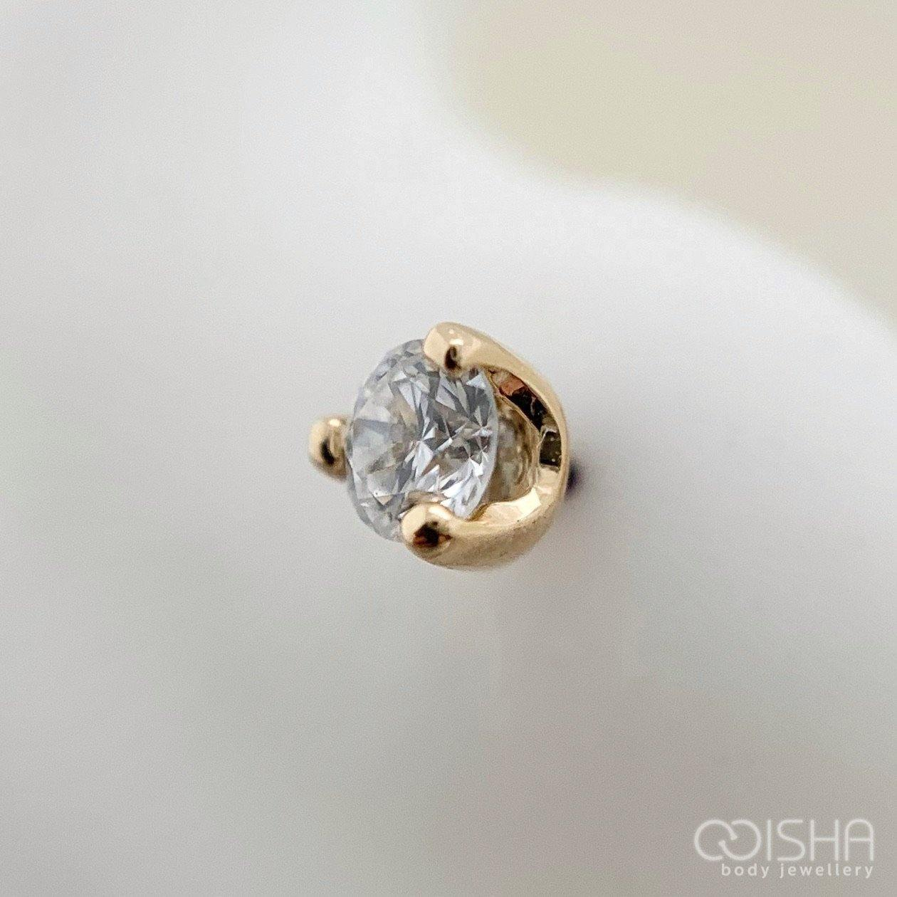 14Ct Yellow Gold Prong Set Diamond End Threadless Attachment