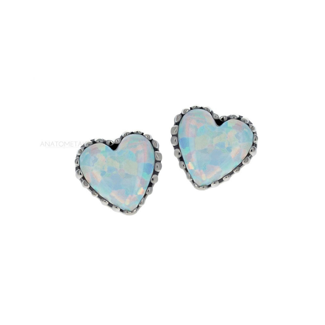 Anatometal 18ct White Gold White Opal Heart End