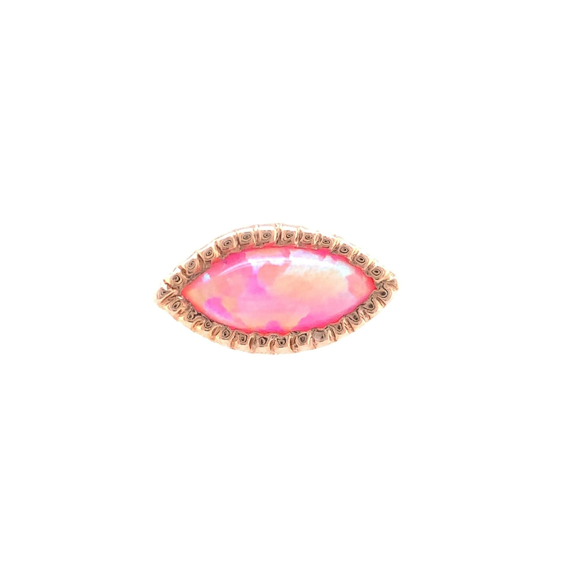 14ct Rose Gold Pink Opal Grizant Cabochon End