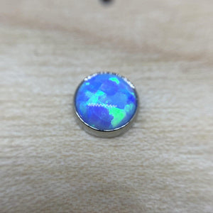 Titanium Flat Back Faux-Pal Cabochon Gem Ends THREADLESS - Isha Body Jewellery