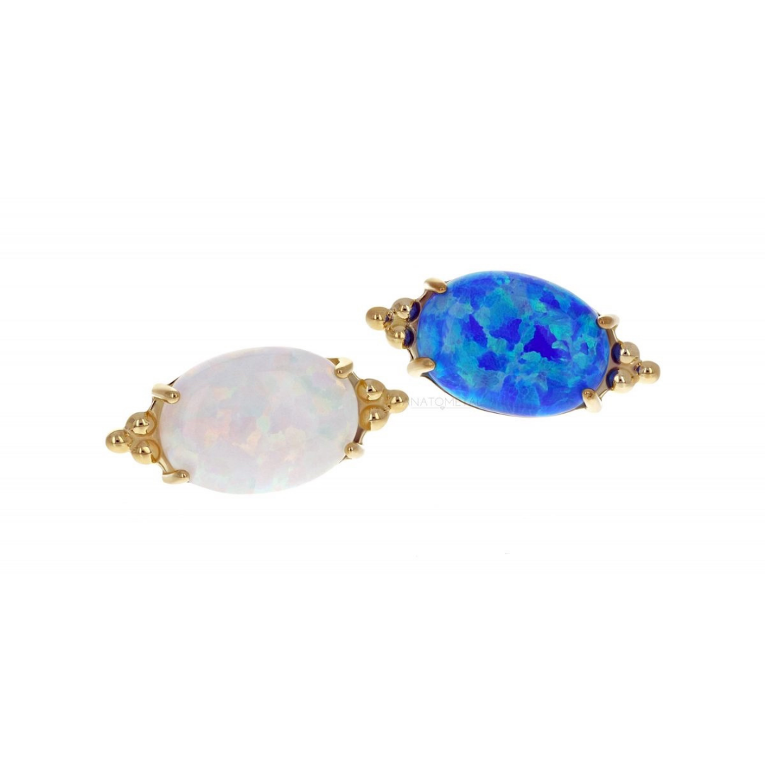 18Ct Yellow Gold White Opal Farata End Attachment