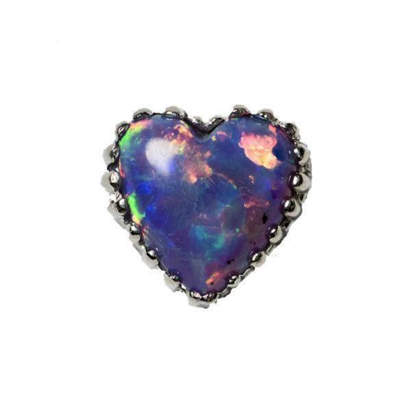 18ct White Gold Light Purple Opal Heart End - Isha Body Jewellery