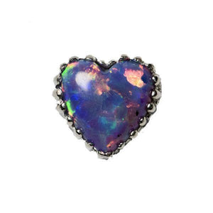 18ct White Gold Light Purple Opal Heart End
