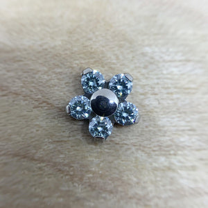 Neometal CZ Flower End THREADLESS - Isha Body Jewellery