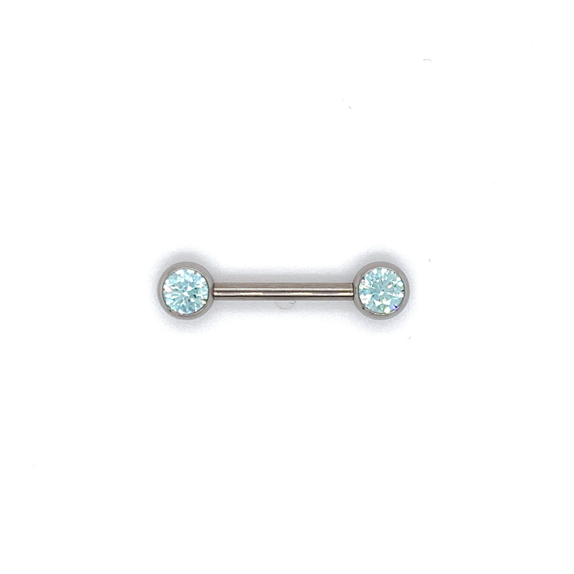 Neometal Nipple Bar with Frosty Mint CZ Gems THREADLESS