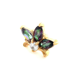 Auris 14ct Yellow Gold Mystic Topaz Lilac Faceted End