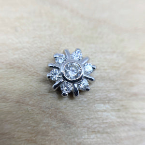 14ct White Gold 7 Gem Radiant CZ Cluster End - Isha Body Jewellery