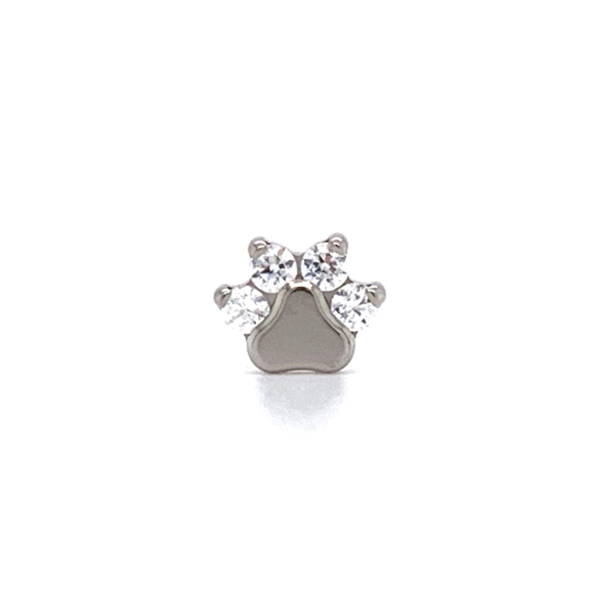 Industrial Strength Odyssey Faceted White CZ Gem Paw Print End