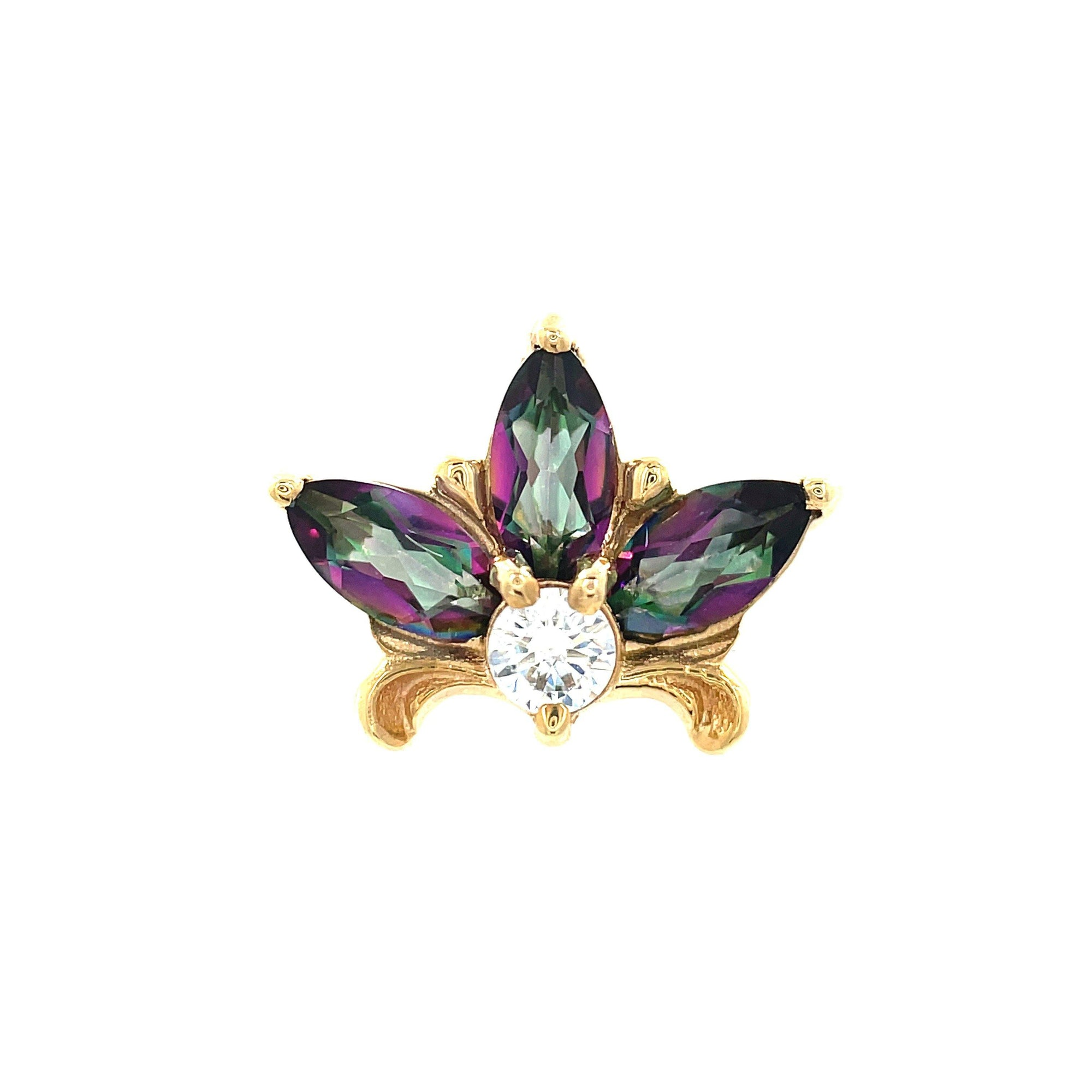 Auris 14ct Yellow Gold Mystic Topaz Lilac Faceted End - Isha Body Jewellery