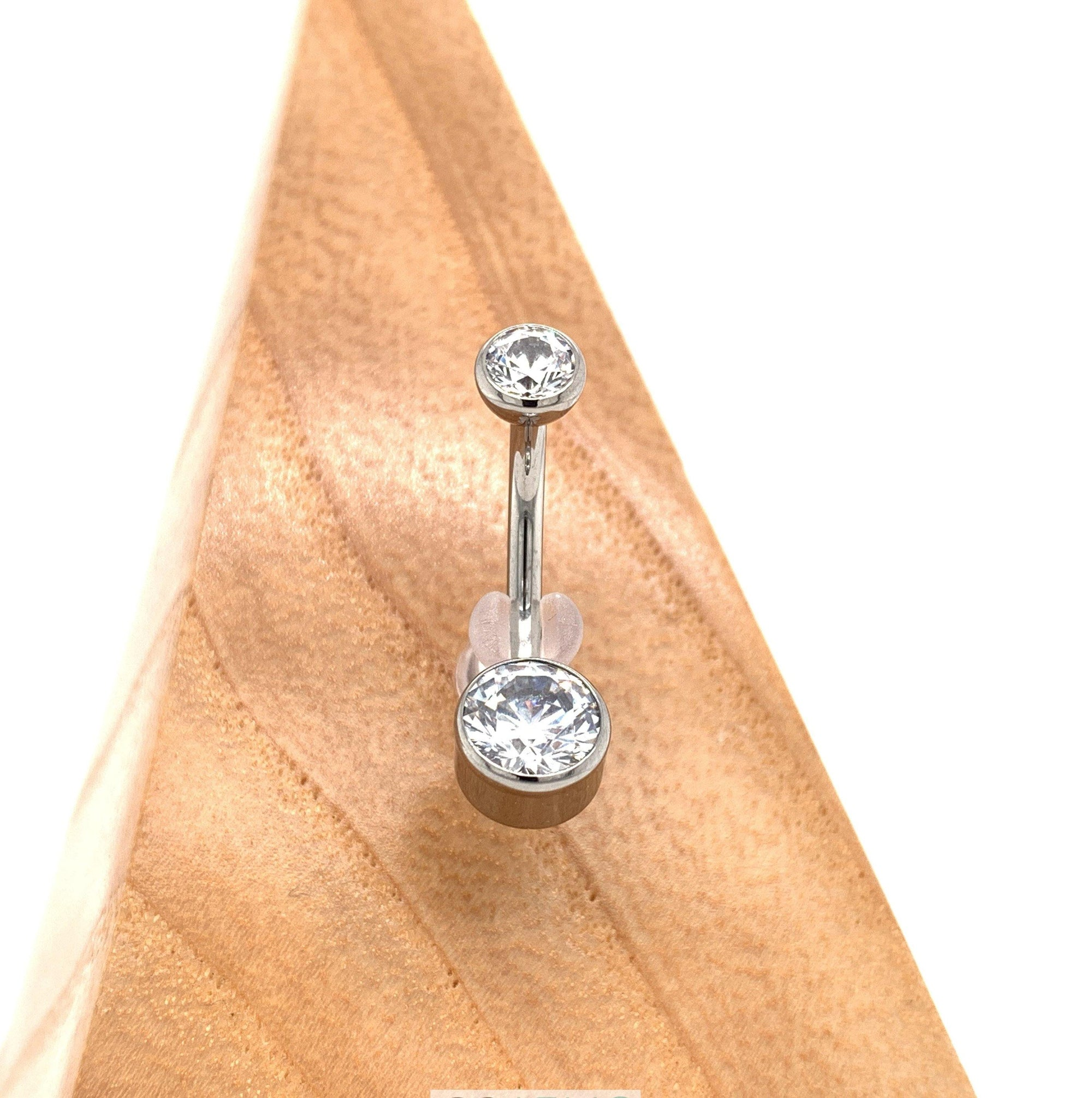 Titanium Bezel Set White Cz Curved Barbell Navel Bars