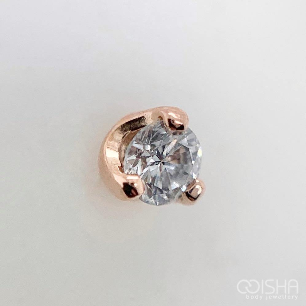 14Ct Rose Gold Prong Set Diamond End Threadless Attachment