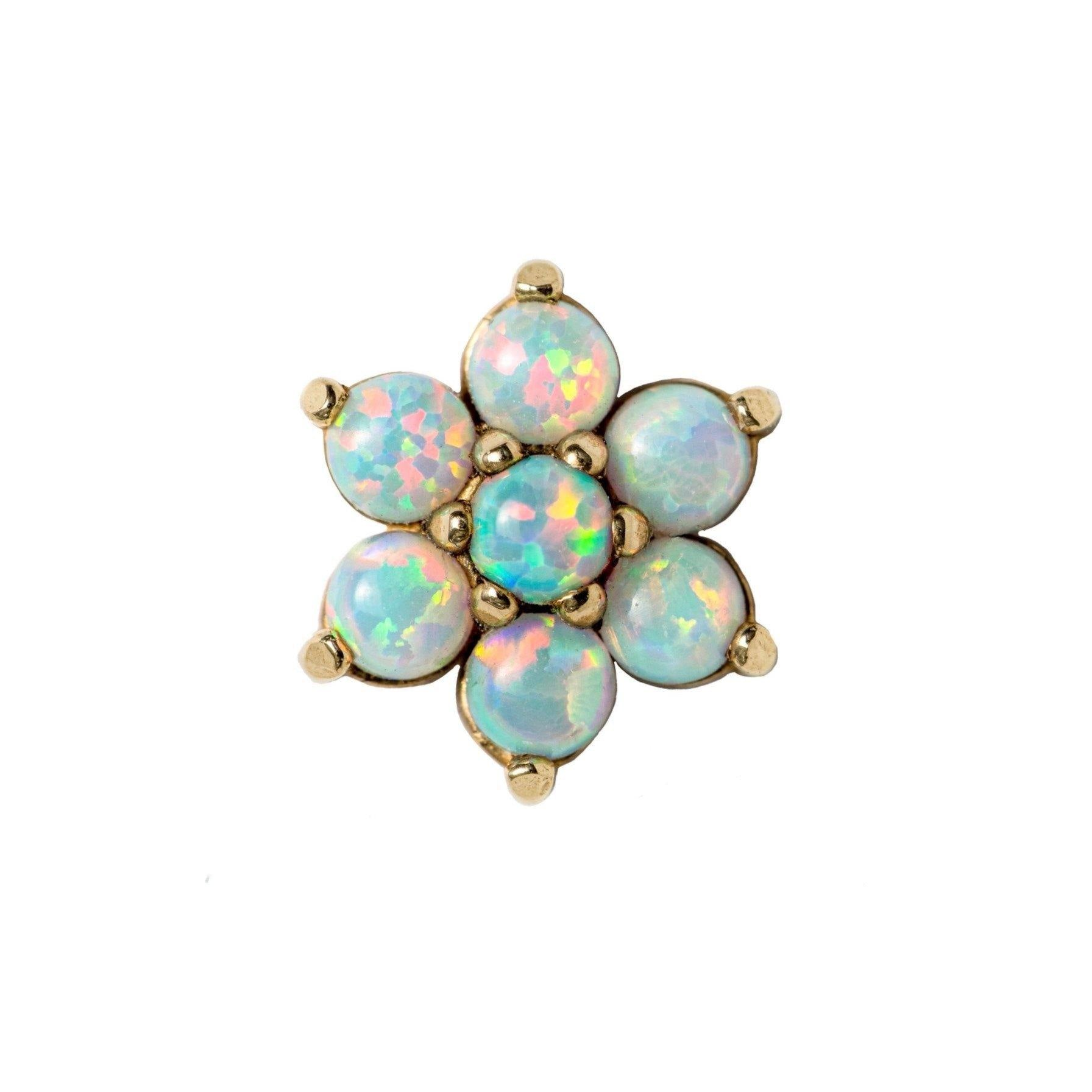 18ct Yellow Gold White Opal Flower End - Isha Body Jewellery