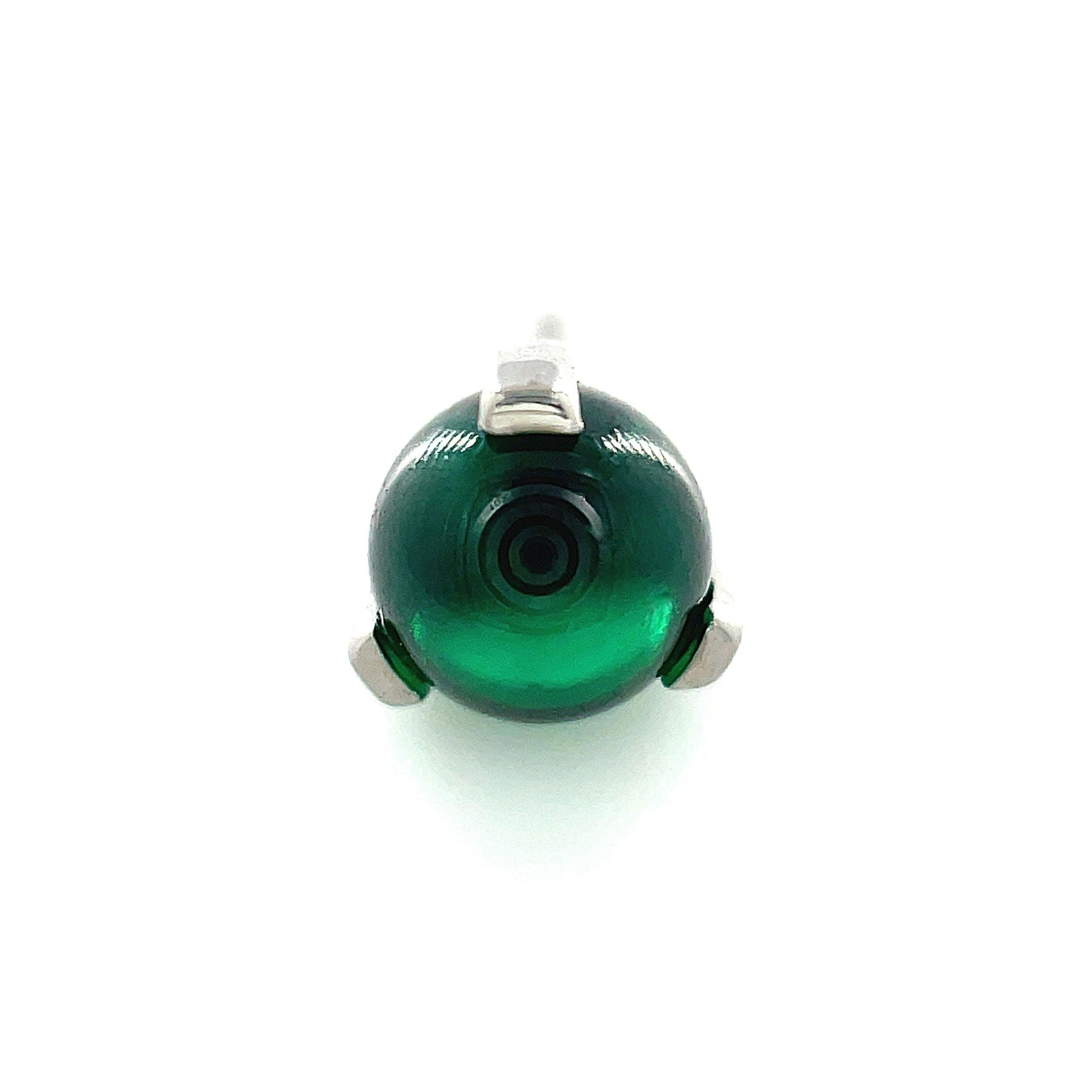 Anatometal Titanium Prong Set Emerald Green Ceramic Orb