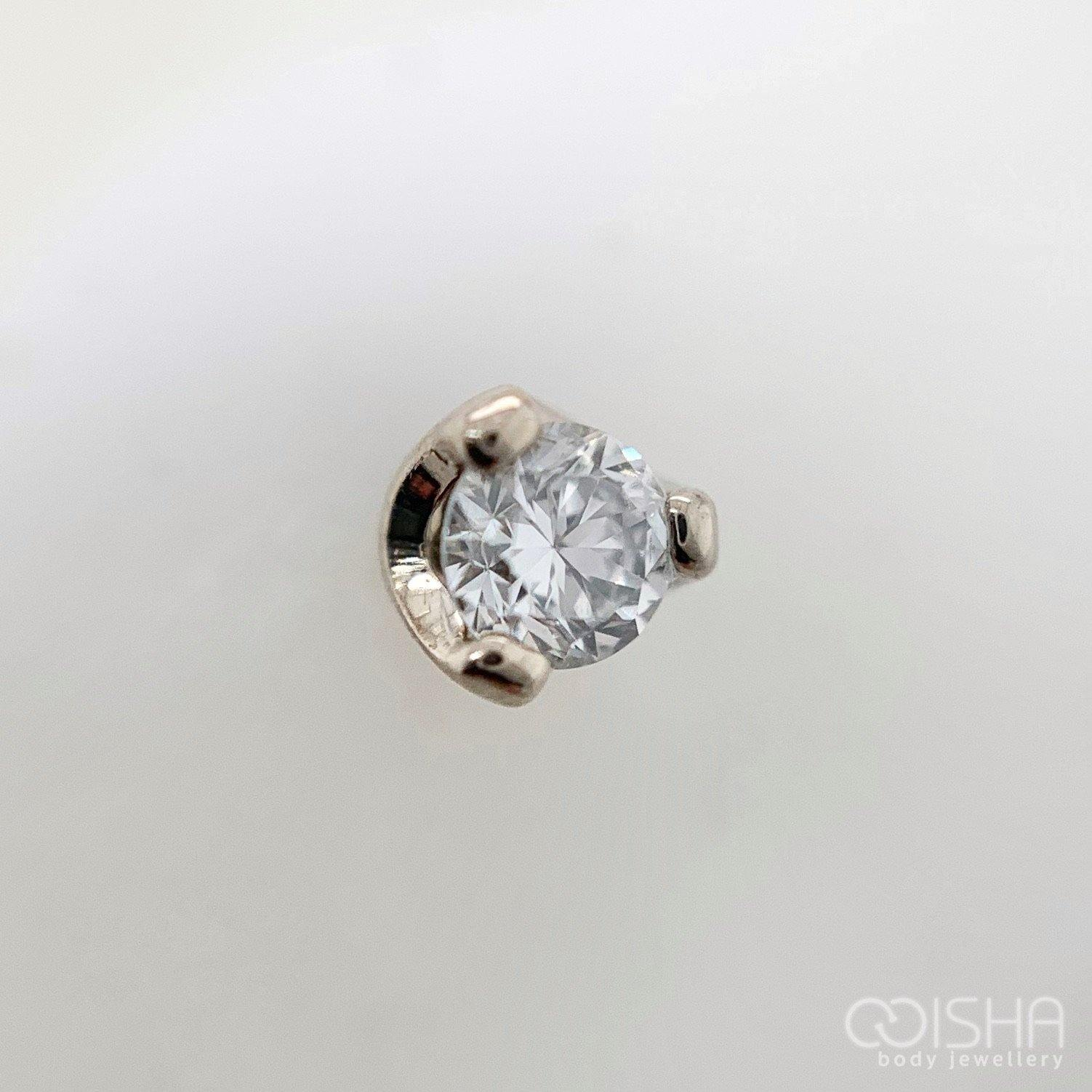 14Ct White Gold Prong Set Diamond End Threadless Attachment