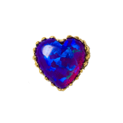 18ct Yellow Gold Purple Opal Heart End - Isha Body Jewellery