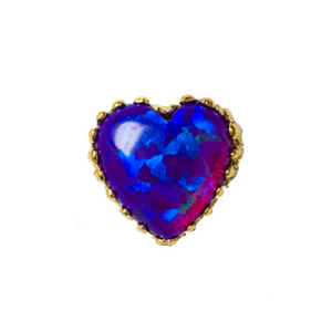 18ct Yellow Gold Purple Opal Heart End