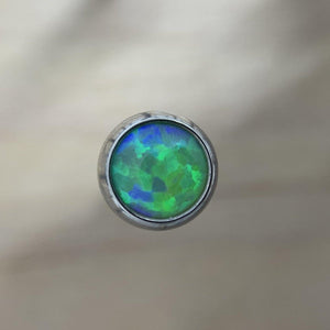Titanium Opal Cabochon Gem End - Isha Body Jewellery