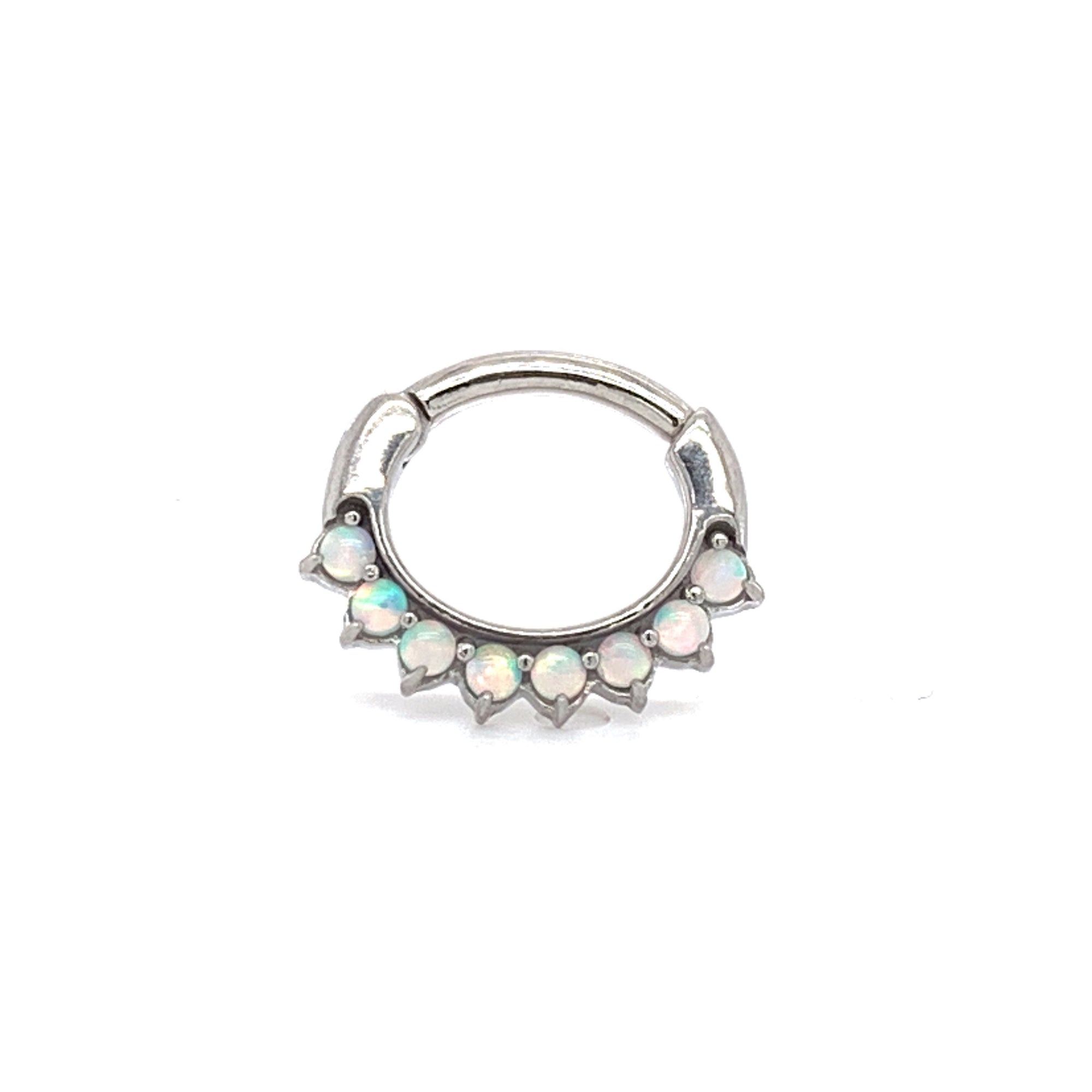 Steel Opal Oval Hinge Ring - Isha Body Jewellery