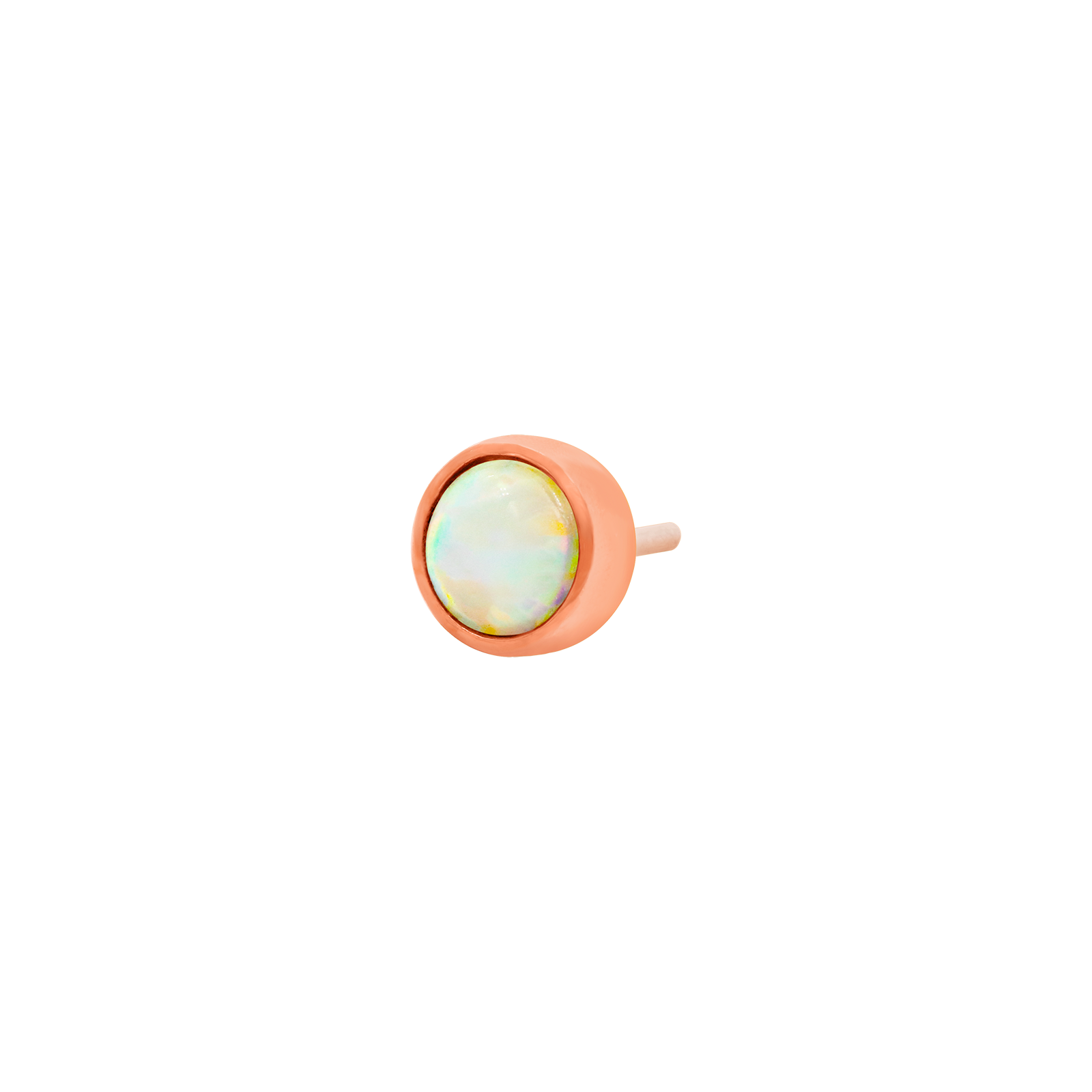 14ct Rose Gold Bezel Set Opal Cup End