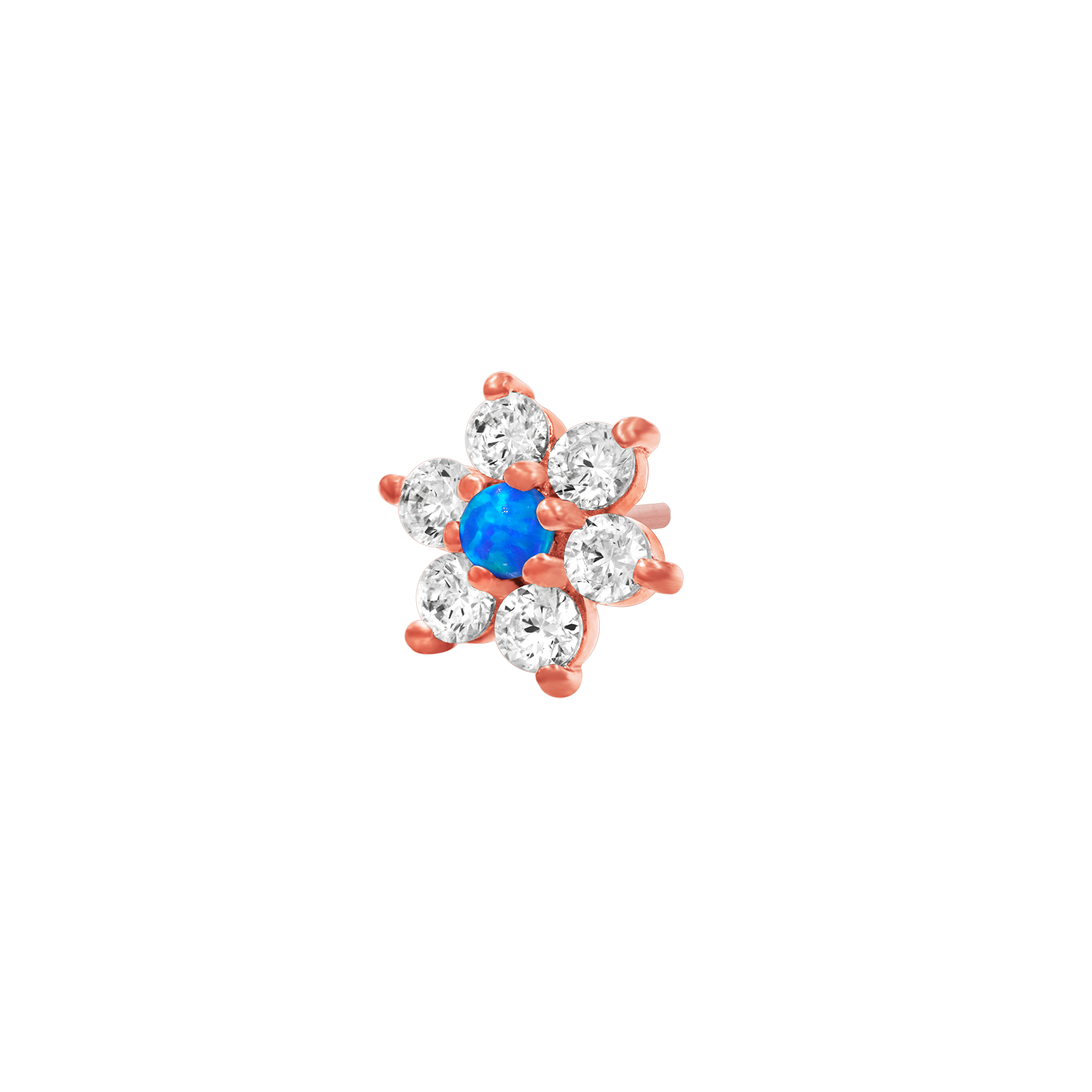 14ct Rose Gold Flower with Swarovski & Blue Opal - Isha Body Jewellery