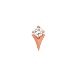 14ct Rose Gold Tulip with Swarovski CZ Stone - Isha Body Jewellery