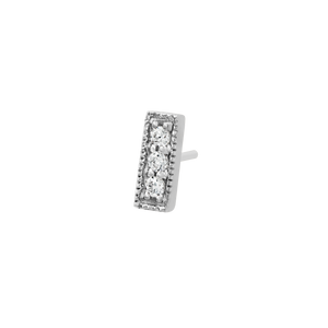 14ct White Gold 3 Gem Millgrain Swarovski CZ Bar End - Isha Body Jewellery