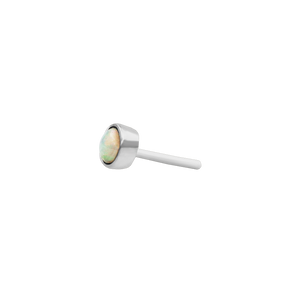 14ct White Gold Bezel Set Opal Cup End