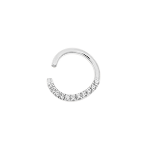 14ct White Gold CZ Seam Ring - Isha Body Jewellery