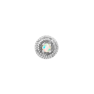 14ct White Gold Round Double Millgrain with Opal End - Isha Body Jewellery