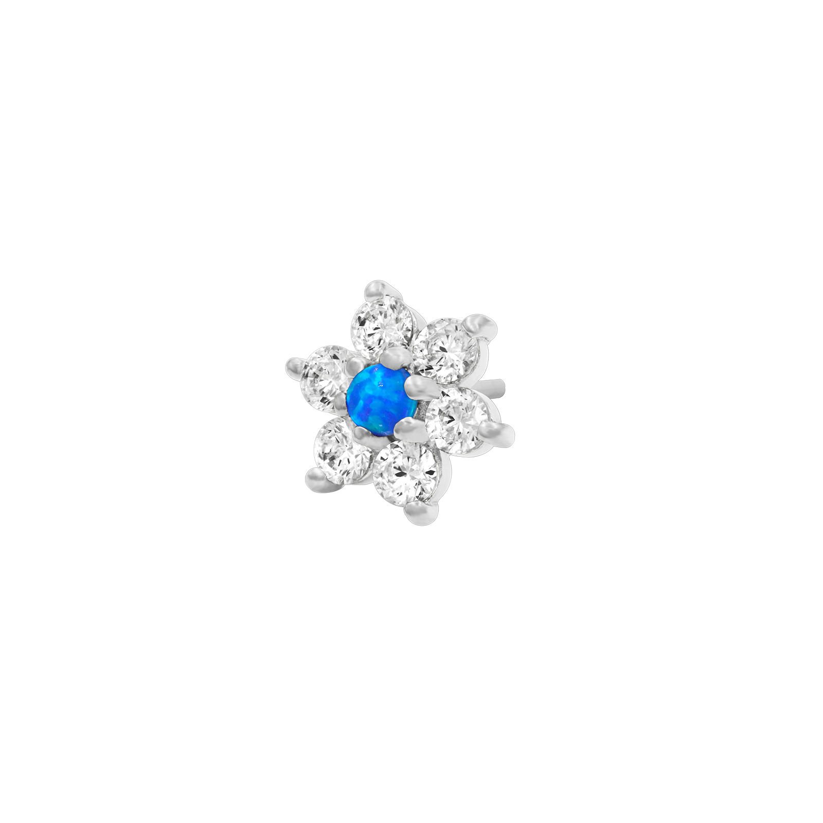 14ct White Gold Flower with Swarovski & Blue Opal - Isha Body Jewellery